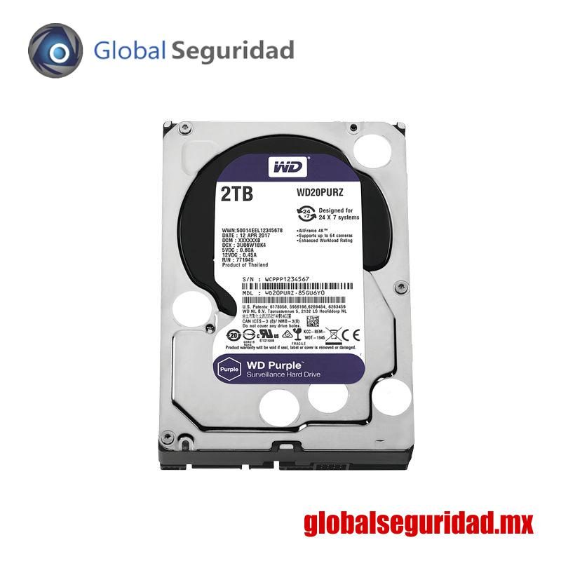 WD20PURZ Disco duro WD de 2TB / 5400RPM / Optimizado para Videovigilancia